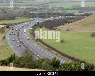 Chilterns, Oxfordshire. M40 motorway - Stock Photo