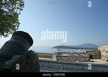 Cannons in the Old Fortress of  Corfu town Kerkyra island Greece Europe - Stock Photo