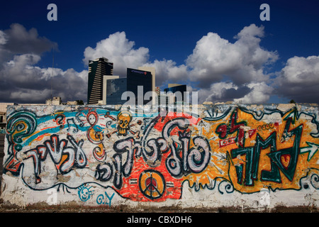 Scenic view of downtown as seen from old bus station in Neveh Shaanan neighborhood Southern Tel Aviv Israel - Stock Photo