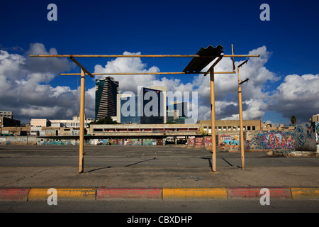 Scenic view of downtown as seen from the old bus station in Neveh Shaanan neighborhood Southern Tel Aviv Israel - Stock Photo