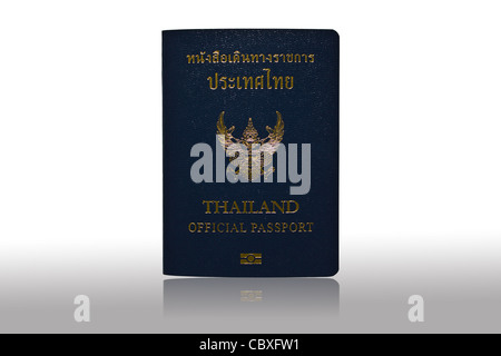 Thailand Official Passport Isolated on White Blackground and reflected grey - Stock Photo