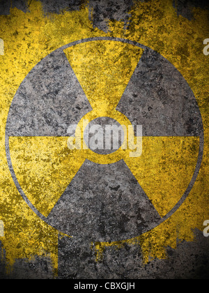 nuclear symbol  on dirty background - Stock Photo