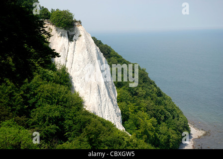 Chalk cliff Koenigsstuhl in the National park Jasmund on the Island Ruegen. - Stock Photo