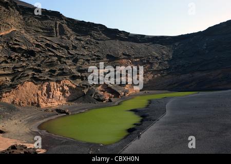 Green Lake Lake El Golfo on Canary Island Lanzarote, Spain - Stock Photo