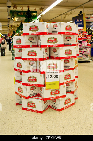 a display of Stella Artois beer in a Tesco supermarket, UK - Stock Photo