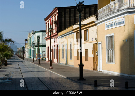 Chile. Iquique city. Baquedano street. Traditional houses. - Stock Photo