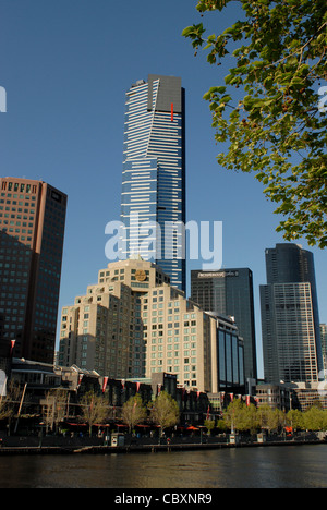 Skyline of Southbank with Eureka Tower and Yarra river in central Melbourne, capital of Victoria, Australia - Stock Photo