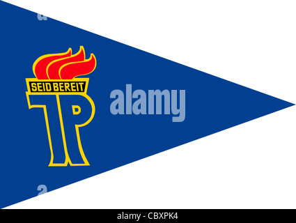Pennant of national childrens organization 'Pionierorganisation Ernst Thaelmann' of the GDR with the logo of the - Stock Photo