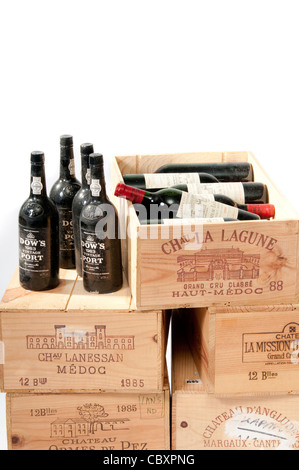 Boxes of old wine & port - Stock Photo