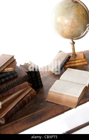 Old Books and Globe - Stock Photo
