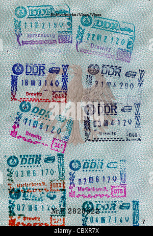 Passport of the Federal Republic of Germany with stamps of the German Democratic Republic for transit journeys by - Stock Photo