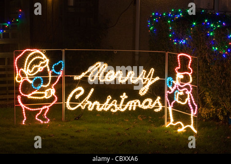 Christmas Lights Outdoor Display With Snowman And Candy