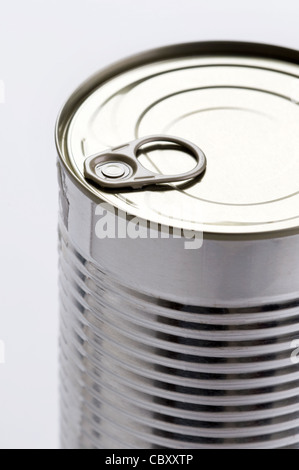 a metal food tin can with a ring pull top - Stock Photo