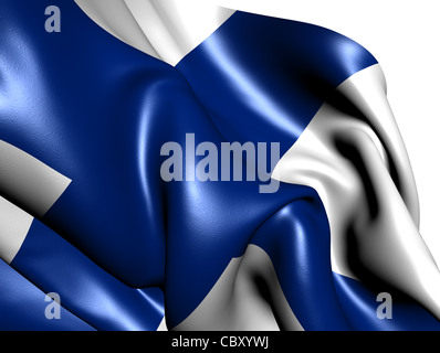 Flag of Finland against white background. Close up. - Stock Photo