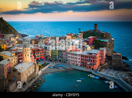 Evening in Vernazza marina. Vernazza is a small town in Italy's Cinque Terre National Park. - Stock Photo