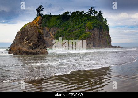 Seastack at Ruby Beach, just outside the border of Olympic National Park in Washington state - Stock Photo