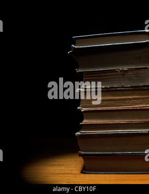 Stack of old antique books - Stock Photo