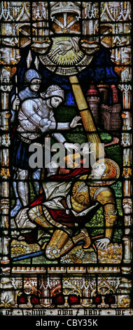 A stained glass window depicting St Paul's Conversion on the Road to Damascus, St Peter & St Paul Church, Charing, - Stock Photo