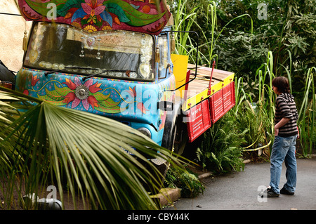 A lorry as part of a display at The Eden Project in Cornwall - Stock Photo