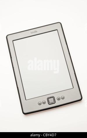 Amazon Kindle ebook reader on a white background - Stock Photo