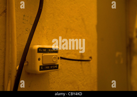 doorbell of a recording studio,  Old light switch - Stock Photo