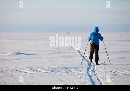 Cross-country skier at Baltic Sea ice , Gulf of Bothnia , Finland - Stock Photo