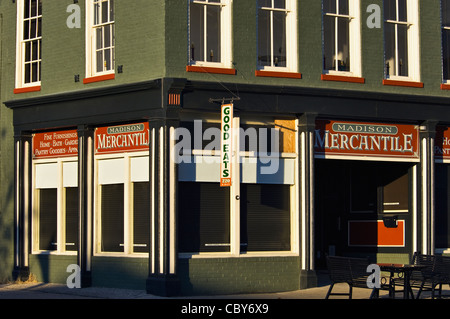 Small American Town Mercantile Store on Main Street in Madison, Indiana - Stock Photo