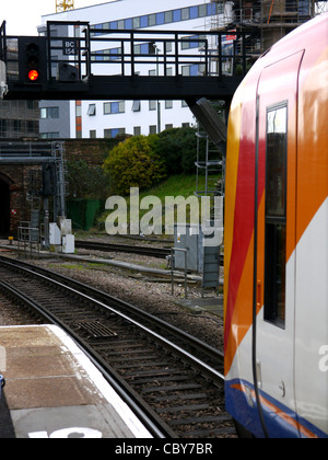 South West Trains, Continued Industrial Action, Causing Passenger Disruption, Stopped At A Red Signal Light - Stock Photo