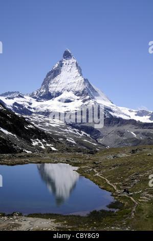 View of the famous Zermatt mountain in Switzerland. - Stock Photo