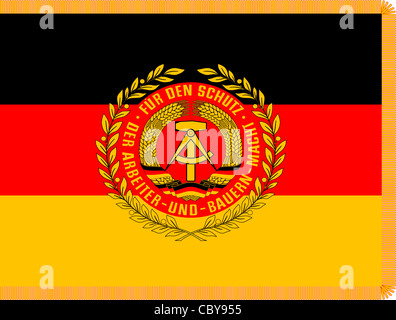 Flag of the National People's Army NVA with the coat of arms of the GDR. - Stock Photo