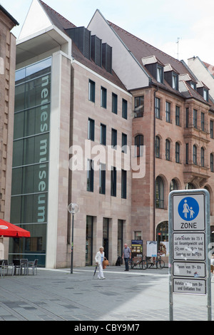 Nuremberg, Germany. Pedestrian area in the town center and Neues Museum (New Museum) building - Stock Photo