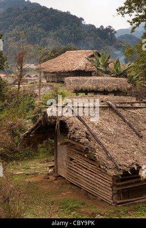 India, Arunachal Pradesh, Along, Podbi village, houses made from locally sourced natural materials - Stock Photo