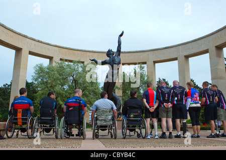 Wreath laying ceremony at Omaha Beach US War Cemetery - Stock Photo