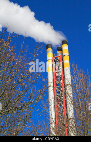 Chimney emitting smoke with winter trees in the foreground against a blue sky - Stock Photo