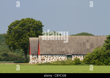 Typical barn in Skåne southern Sweden - Stock Photo