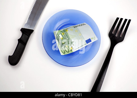 One hundred euro bill on a plate, with knife and fork - Stock Photo