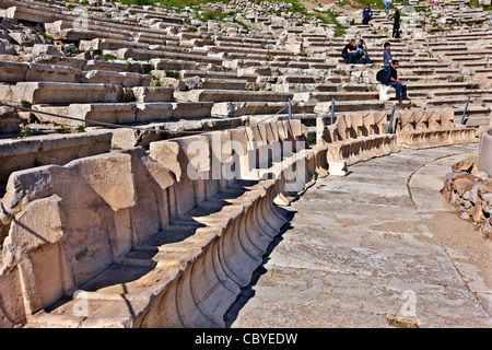 The ancient theater of Dionysus Eleuthereus , on the south slopes of the Acropolis of Athens, Greece. - Stock Photo