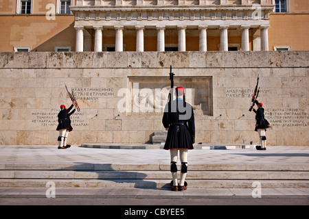 Changing of the presidential guard ('Evzones' or 'Evzoni') in front of the monument of the 'Unknown Soldier', Athens, - Stock Photo