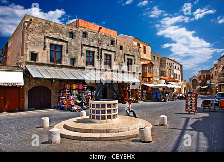 The  square  of Jewish Martyrs, in the heart of the Medieval town of Rhodes island, Dodecanese, Greece. - Stock Photo