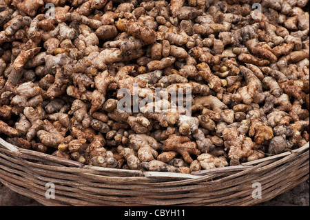 Fresh Root Ginger in a basket at an Indian market. Andhra Pradesh, India - Stock Photo