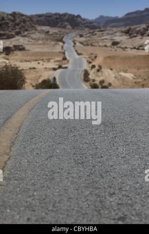 Endless road in Jordan, near Petra
