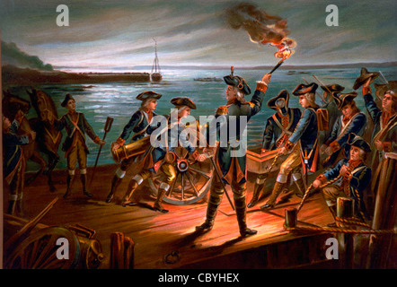 USA Army Artillery retreat from Long Island 1776 during American War of Independence