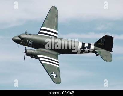 An ex-United States Air Force C-47A Skytrain (civil registration N1944A), belonging to Wings Venture, display - Stock Photo