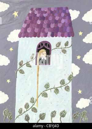Illustration of Rapunzel or girl looking through window - Stock Photo