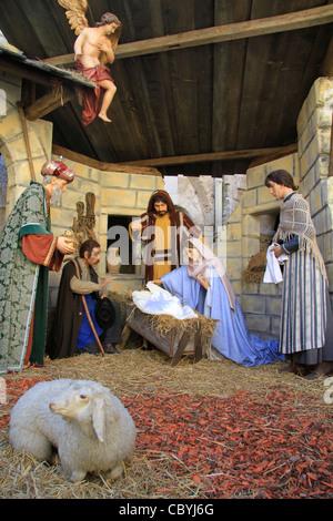 Bethlehem, Nativity Scene at the Church of St. Catherine - Stock Photo