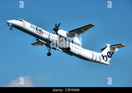 Flybe Bombardier Dash-8-400 (G-JECL) takes off from Manchester Airport, England. - Stock Photo