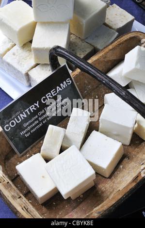 Handmade soap bars on sale at Akaroa market, New Zealand. - Stock Photo
