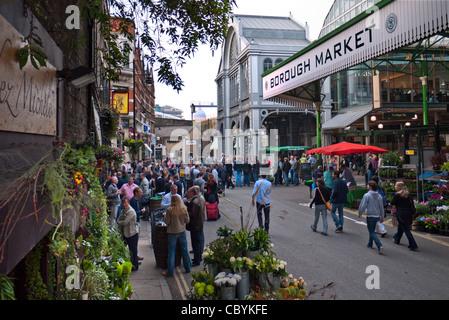 Borough Market exterior shoppers renowned popular international produce retail market London Bridge Southwark  London - Stock Photo