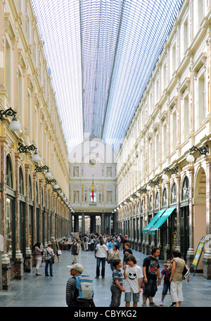 Galeries Royales Saint-Hubert, a glazed shopping arcade in Brussels, - Stock Photo