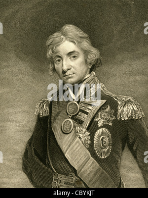 1830 engraving of Horatio Nelson, 1st Viscount Nelson, 1st Duke of Bronté. - Stock Photo
